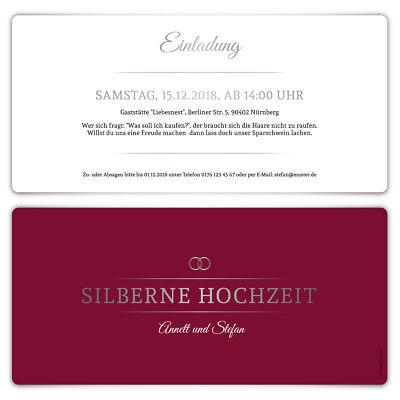 Silberne Hochzeit Einladungskarten Silberhochzeit 25 Jahre - Burgunder Silber (Burgund Hochzeit Einladungen)