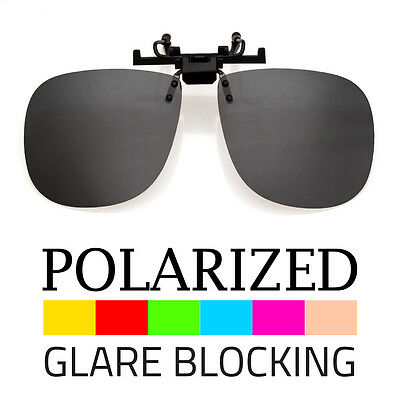 LARGE POLARIZED LENS  GLARE BLOCK CLIP ON FLIP UP SUNGLASSES GLASSES DRIVING