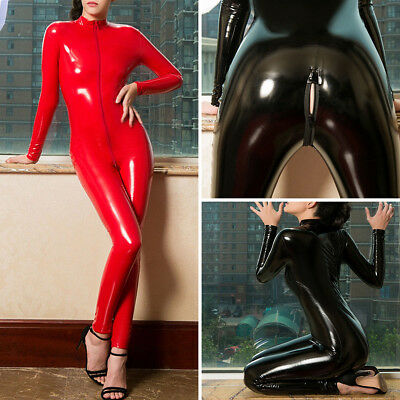 Leather Not Latex (Latex Leather Shiny Glossy Bodysuit Zipper Open Crotch Catsuit Jumpsuit Lingerie )
