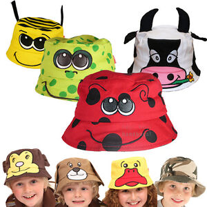 Kids-Beach-Bush-Hat-Sun-Protection-Child-Boys-Girls-Baby-Fun-Funky-Animal-Cotton