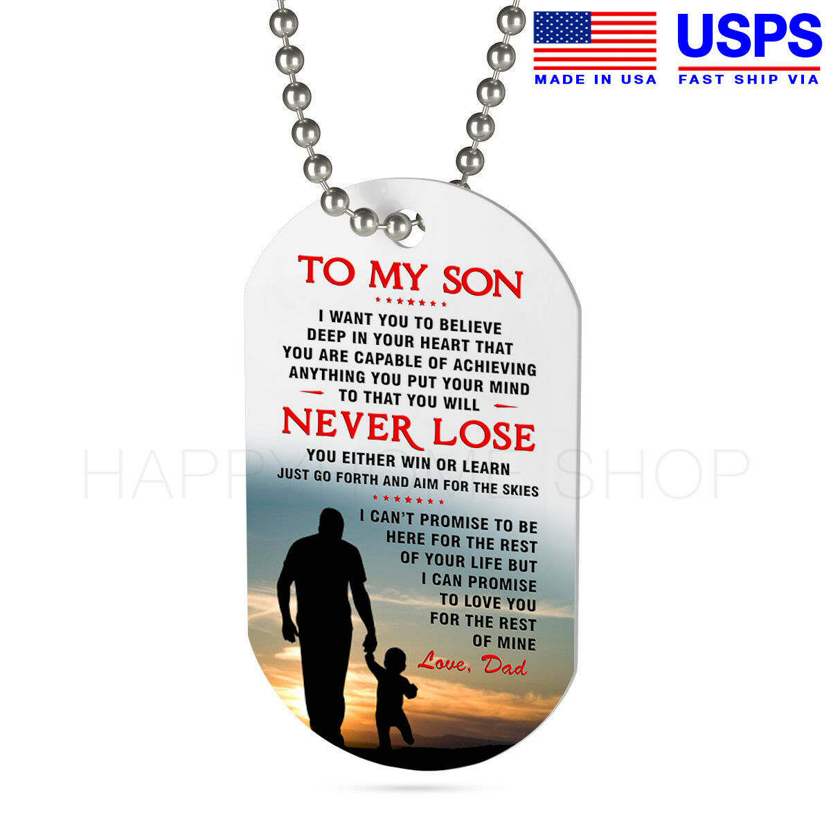 Details About Dog Tag Birthday Gift For Son From Love Dad Father And Never Lose