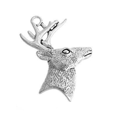 5 Grande Plateado Navidad Reno / Cabeza de Ciervo Charm ~Colgante~ 60mm...