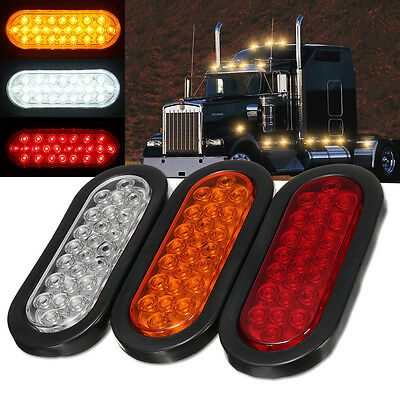 "6"" 24 LED Oval Truck Trailer Stop Turn Rail Tail Brake Light Side Marker Signal"