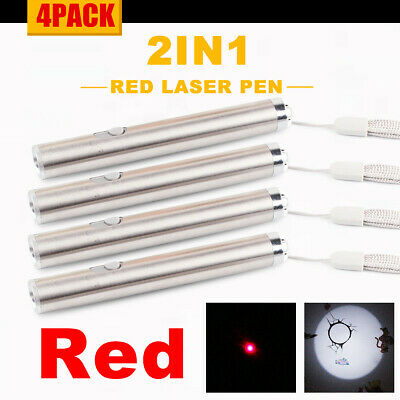 4pack 2in1 Mini Cat Toy Red Laser Pointer Pen With Led Light Flashlight Torch Aa