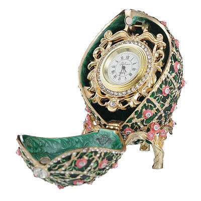 Russian Rose Trellis Faberge Egg trinket jewel box with clock 3.8'' 9,5cm green for sale  Shipping to United States