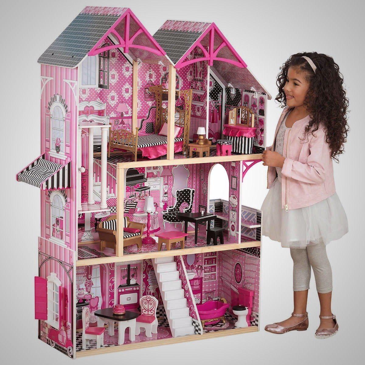 wooden barbie dollhouse furniture. Barbie-Size-Dollhouse-Furniture-Girls-Playhouse-Dream-Play- Wooden Barbie Dollhouse Furniture
