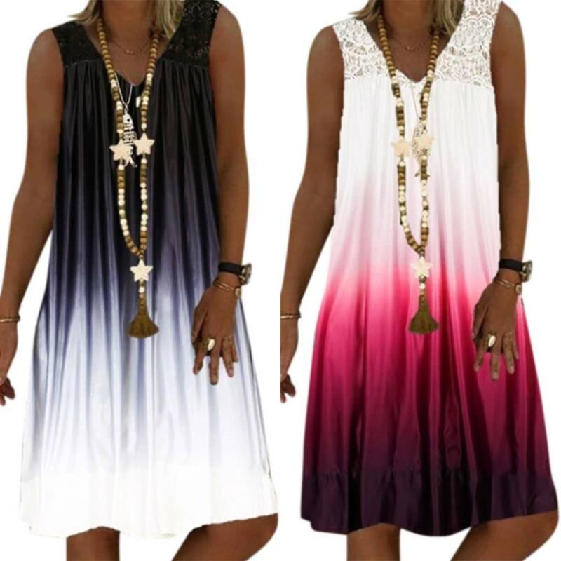 Damen Ärmellos Sommerkleid Boho Gradient Minikleid Beiläufig Strand Tunika Kleid
