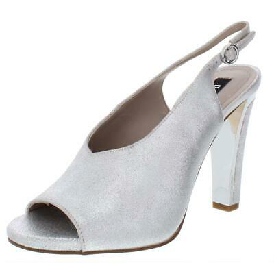 DKNY Womens Col Peep Metallic Suede Slingback Evening Heels Shoes BHFO 9087 Womens Slingback Heels