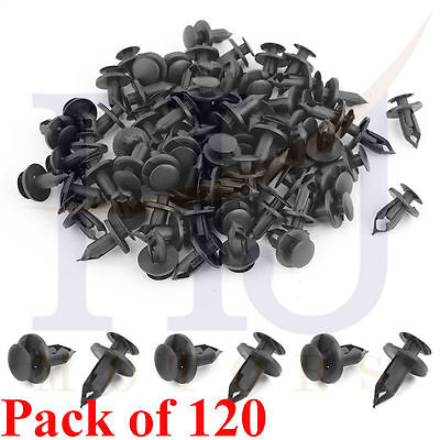 120Pcs 8Mm Hole Plastic Rivets Fastener Push Clips Black For Car Auto Fender