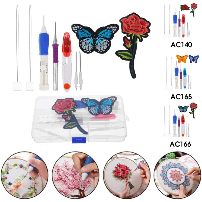 Embroidery Needle Pen Kit Poke Pin Set DIY Craft With 2 Threader Sewing Tools t