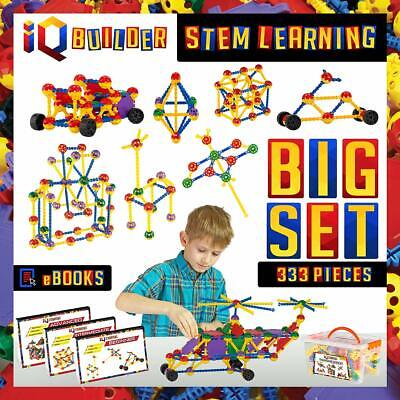 AUTHENTIC - IQ BUILDER STEM Learning Toys 333 PC Set for Boys &Girls Ages 3 & UP