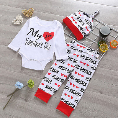 My First Valentine's Day Toddler Baby Girls Boys Romper Pants Outfits Clothes  - Toddler Boy Valentine Outfit