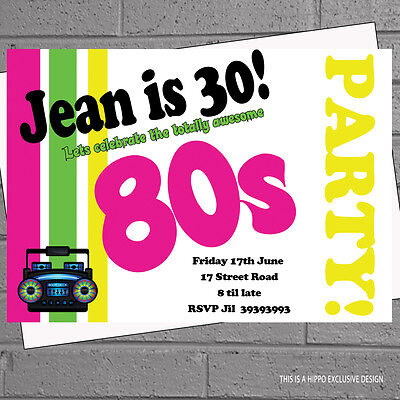 12 x Personalised 80s Birthday Party Invitations Eighties Themed with envelopes](80's Themed Birthday Party)