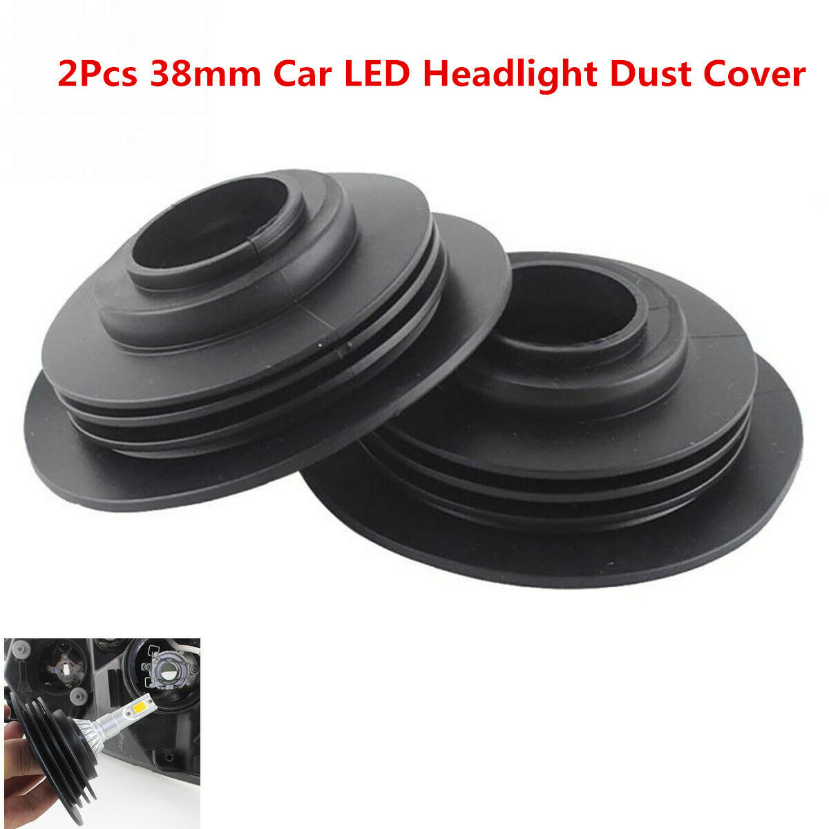 2Pcs Car Headlight  Rubber Waterproof Dust Cover Cap for LED Headlamp HID Lamp