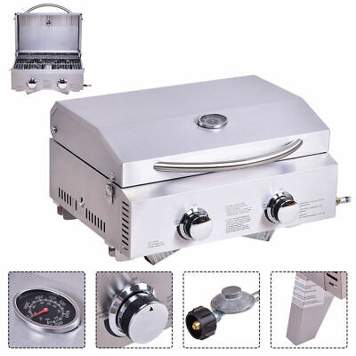 2 Burner Portable Stainless Steel BBQ Table Top Propane Gas Grill Outdoor Camp ()