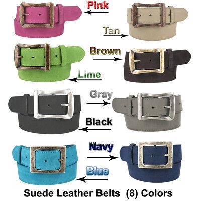 Suede Designer Belt (WOMEN'S SUEDE LEATHER CASUAL JEAN BELT / DESIGNER  BUCKLE 1-1/2
