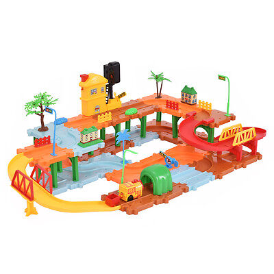 66PCS Plastic Brick Toys Electronic Building Blocks Railway Train w/ Light Music
