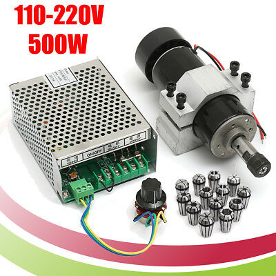 110v220v Cnc 500w Air Cooling Spindle Motor 52mm Clamps W 13pcs Er11 Collet