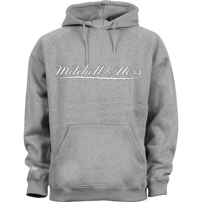 Mitchell & Ness Script Logo Grey Hoodie Mens Hooded Pullover Jumper A39C