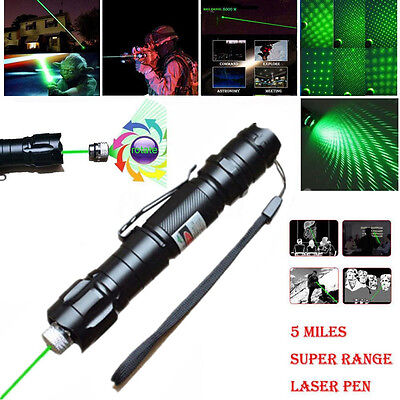 10 Miles 532nm Adjustable Focus Green Laser Pointer Beam Pen +Star Cap 0.5mw