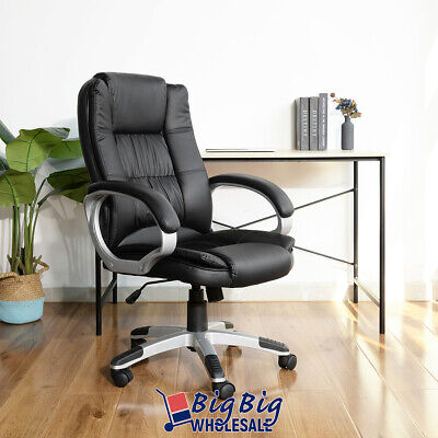 High Back Office Chair Black Pu Soft Leather Executive Ergonomic Computer Desk