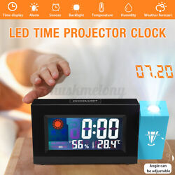 LED Projection Digital Alarm Clock Weather Thermometer Snooze Backlight Date US