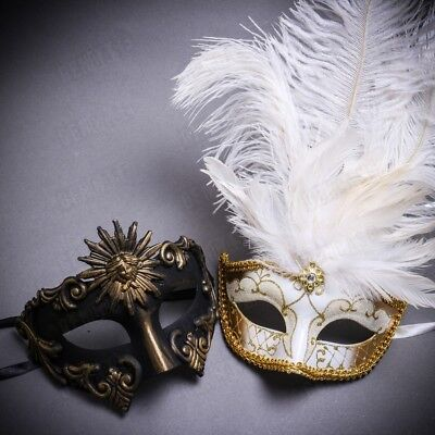 Masquerade Masks Set for Couple Men Women Venetian Costume Prom Dance Party - Costume Masks For Men