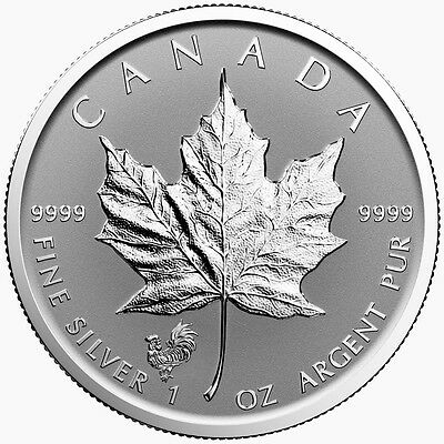 2017 Canada $5 1 oz Reverse Proof Silver Maple Leaf Lunar Rooster Privy SKU43348