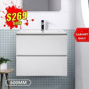 *CLEARANCE* Bathroom Vanity 600mm Wall Hung Drawer Cabinet 2pack Mia
