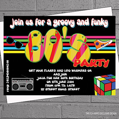 12 x Birthday Party Invitations 1980s Eighties 80s Themed with envelopes H0546](80's Themed Birthday Party)
