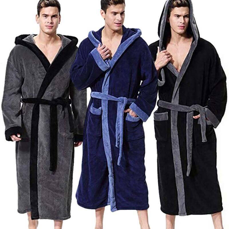 Men's Hooded Robe Luxury Warm Fleece Bathrobe Dressing Gown