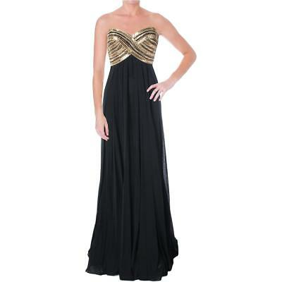 New JVN JOVANI Black Chiffon Gold Beaded Sweetheart Strapless Ball Prom Gown 2 Black Chiffon Sweetheart Beading