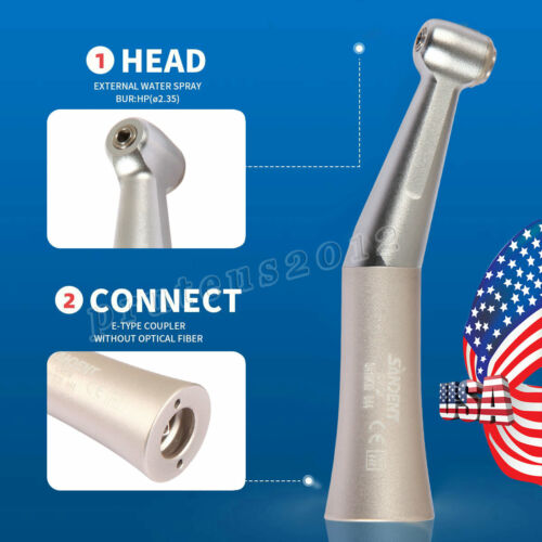SANDENT Dental Push Button Contra Angle Low Speed Handpiece 1:1 Gear Ratio