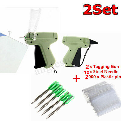 2x Clothes Garment Price Label Tagging Gun Tag Machine 2000 Tag Barbs10 Needle