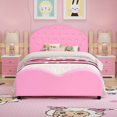Platform Bed for Kids Girls Wooden Bed Frame Furniture with