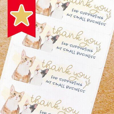 Thank You Labels Stickers For Online Shop Sellers 100ct - 2 Cats