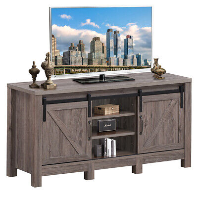 """TV Stand Sliding Barn Door Entertainment Center for TV's up to 55"""" with Storage"""