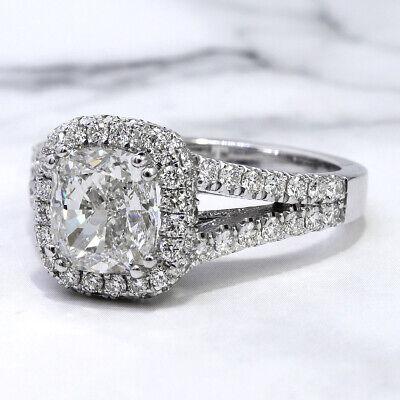 2.30 Ct. Cushion Cut Pave Diamond Halo Split Shank Engagement Ring H VS2 14K GIA 5