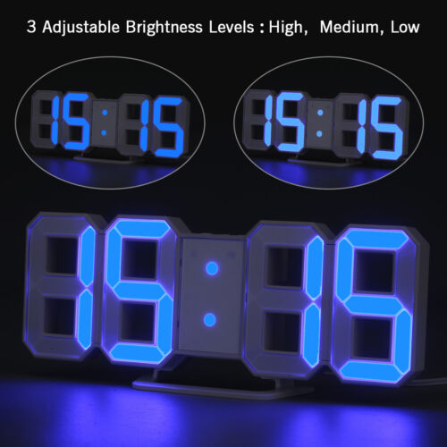 LED Digital Large 3D Display Table Wall Alarm Clock Dimmer Snooze Timer Decor US