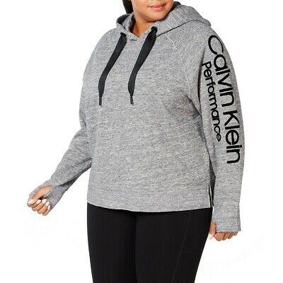 CALVIN KLEIN NEW Women's Performance Plus Size Logo Fleece Hoodie Top TEDO Womens Plus Performance Fleece