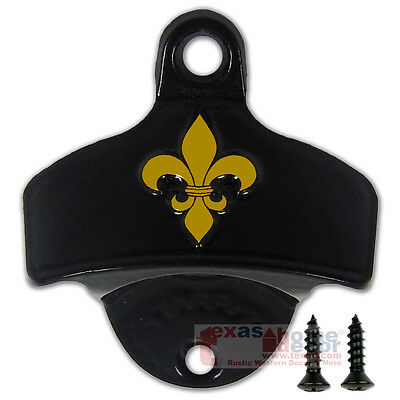 - Embossed Fleur De Lis Gold Black Beer Bottle Opener Wall Mounted Starr X Saints