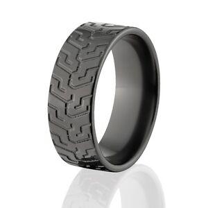 Custom Black Zirconium Tire Tread Rings Rugged Mens Rings