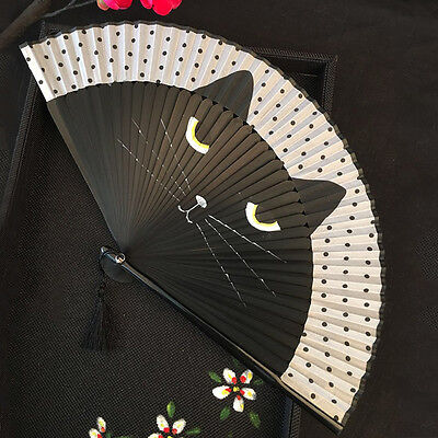 Vintage Japanese Silk Hand Fan Cartoon Cat Painted Folding Fan Craft Gift