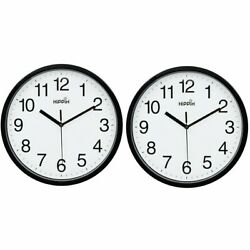 10 Silent Quartz Decorative Wall Clock Non-ticking  Black 2pcs -C2-