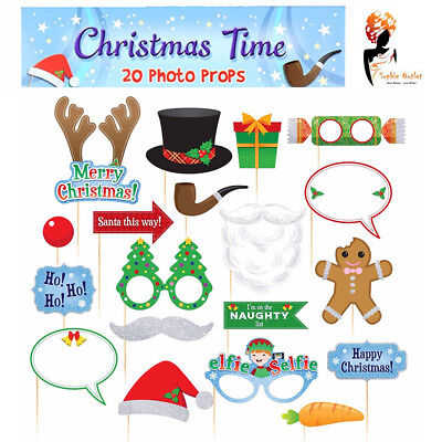 20 Christmas Xmas Party Photo Booth Props Funny Face Picture New Year Selfie Fun - Funny Face Photo Booth