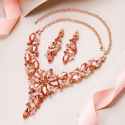 Champagne Flower Leaf Bridal Jewelry Set Gold Necklace Earrings Austrian Crystal Austrian Crystal Jewelry Set
