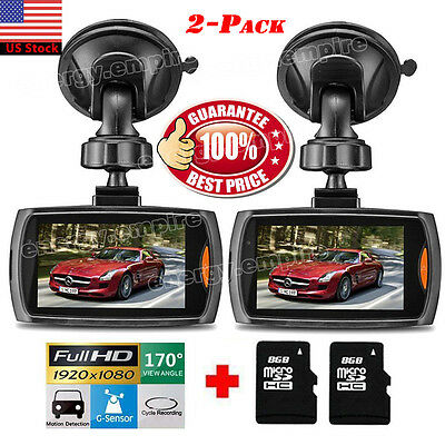 2X 2 4  Lcd Full Hd Car Dvr Vehicle Camera Video Recorder Dash Cam Night Vision