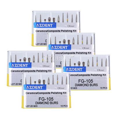 5x Dental Diamond Burs Fg-105 Creamicscomposite Polishing Kit High Speed Azdent