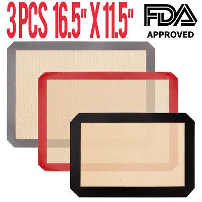 3X Pack Large Silicone Baking Mat Non Stick Heat Resistant Liner Oven Sheet Mats - Large Baking Mat