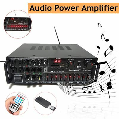 326BT Professional Bluetooth Stereo Amplifier 2Ch 2000 Watts AMP FM Radio USB SD